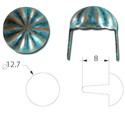 "Copper Patina Parachute 1/2"" Diameter Spots Size"