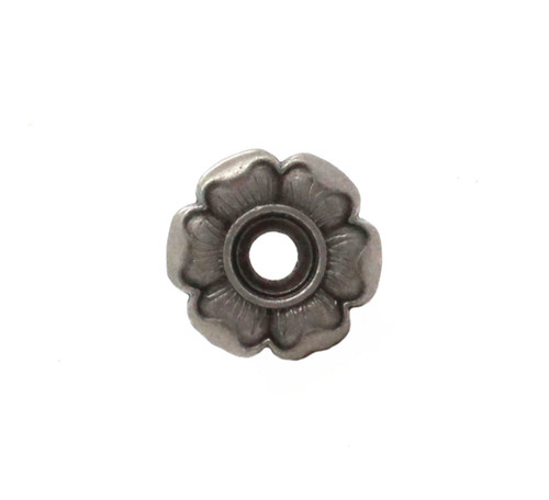 Flower Bezel Concho in Antique Nickel Front