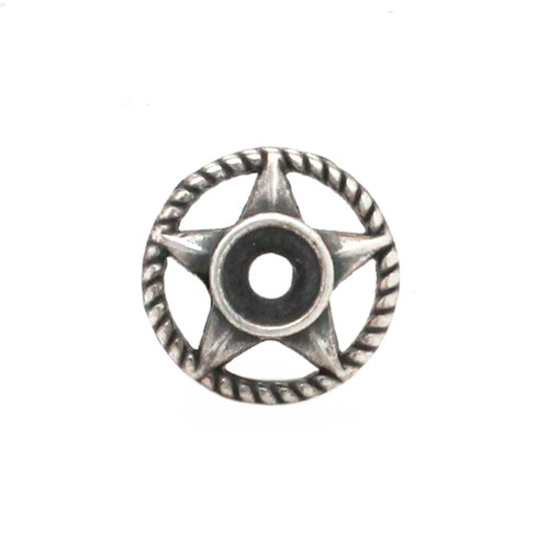 Western Roped Star Bezel Concho in Antique Nickel Front