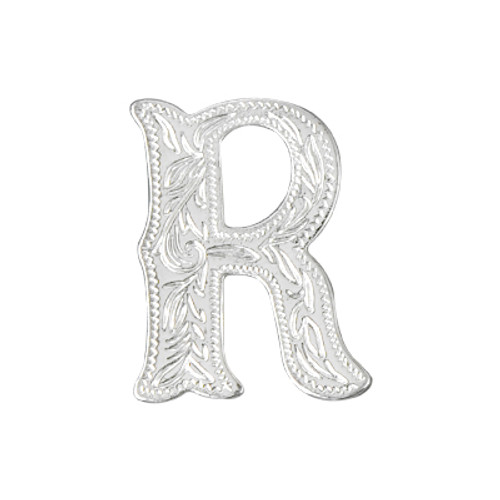 "Alphabet Letter R Shiny Silver Concho 3/4"" Tall 1339-18"