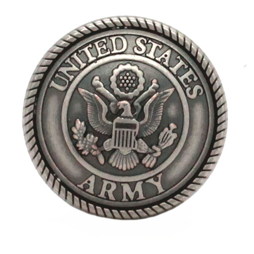 Army Logo Antique Nickel Screwback Concho Front