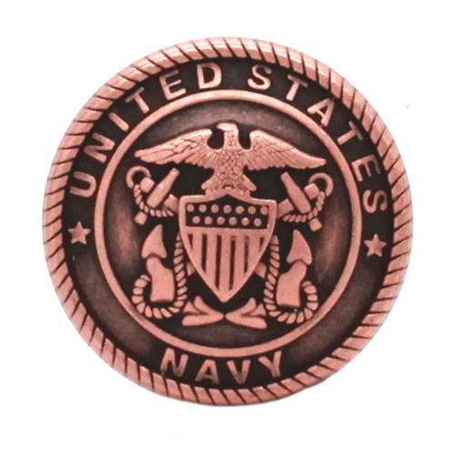 Navy Logo Antique Copper Front