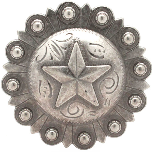 Star Berry Concho Antique Silver Front