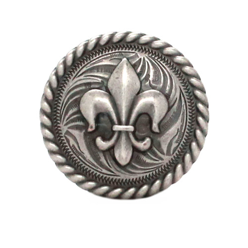 Fleur de Lis Rope Edge Antique Nickel Concho Front