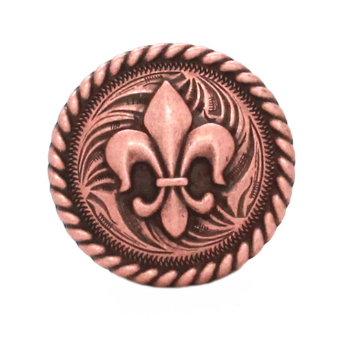 Fleur de Lis Rope Edge Antique Copper Concho Front