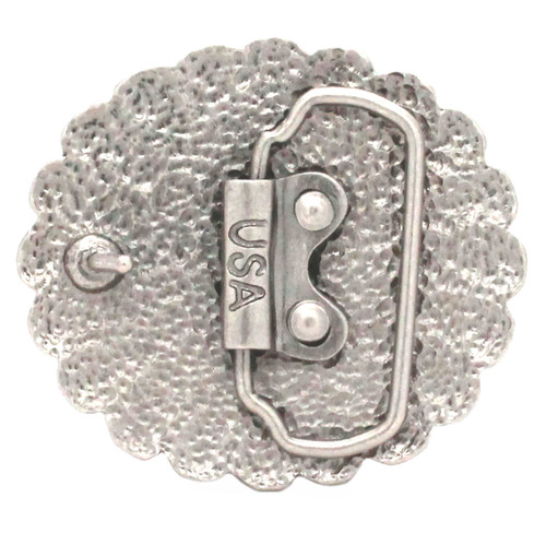 Pinwheel Trophy Belt Buckle Antique Nickel Back