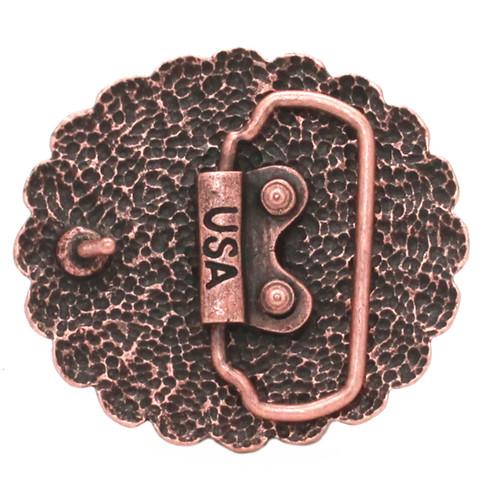 Pinwheel Trophy Belt Buckle Antique Copper Back