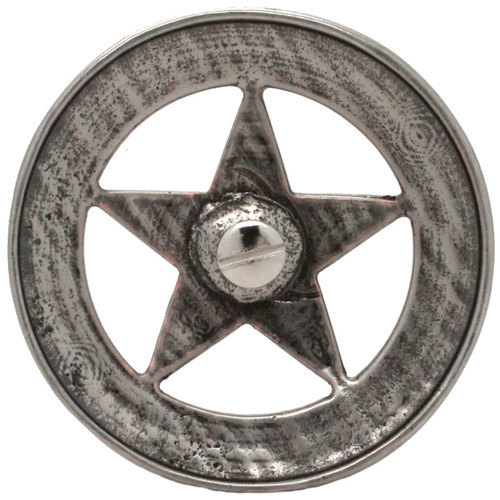 "Smooth Star Saddle Tack Concho 3"" Antique Nickel Back"