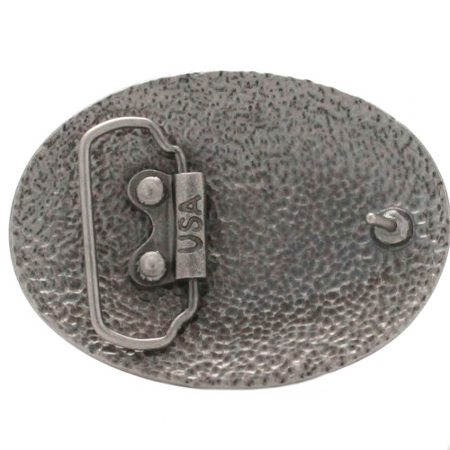 Floral Filigree Trophy Belt Buckle Antique Nickel Back