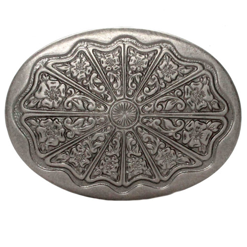 Floral Filigree Trophy Belt Buckle Antique Nickel Front