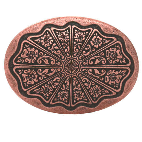 Floral Filigree Trophy Belt Buckle Antique Copper Front