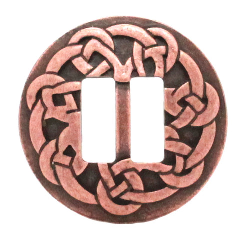 Celtic slotted concho antique copper plated front