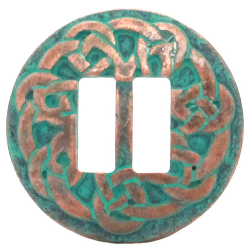"""Celtic slotted concho copper patina plated 1-1/2"""" front"""