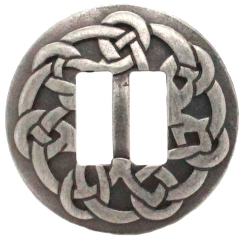"""Celtic slotted concho antique nickel 1-1/2"""" front"""