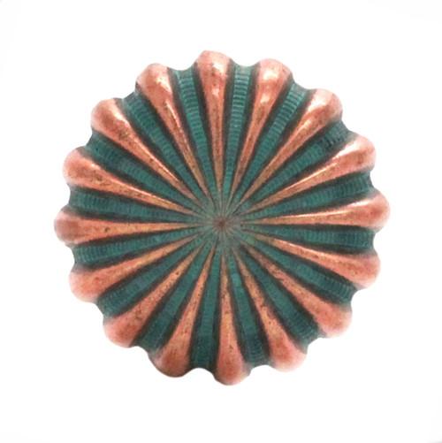 "Pinwheel Concho Copper Patina 1"" Front"