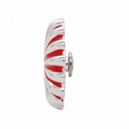 "Pinwheel Concho Silver And Red 1"" Side"