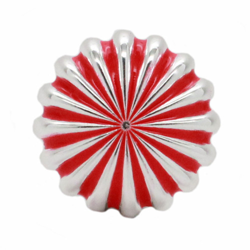 "Pinwheel Concho Silver And Red 1"" Front"