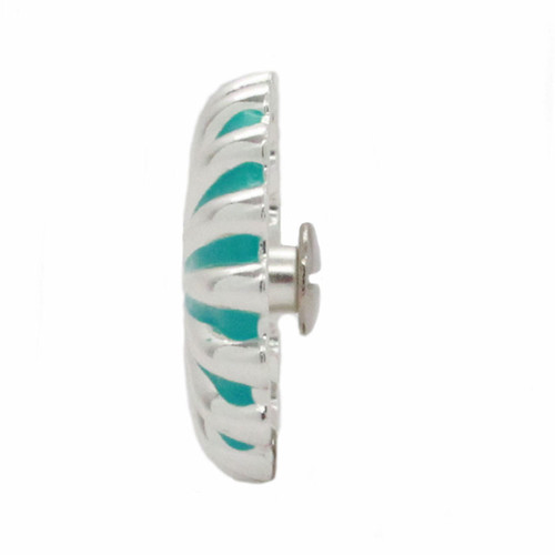 "Pinwheel Concho Silver And Turquoise 1"" Side"