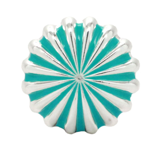 """Pinwheel Concho Silver And Turquoise 1"""" Front"""