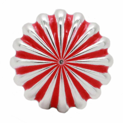 "Pinwheel Concho Silver And Red 1.25"" Front"