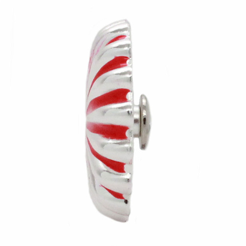 "Pinwheel Concho Silver And Red 1.25"" Side"