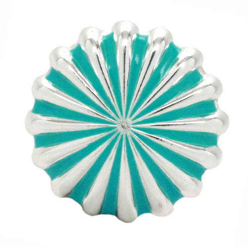 "Pinwheel Concho Silver And Turquoise 1.25"" Front"