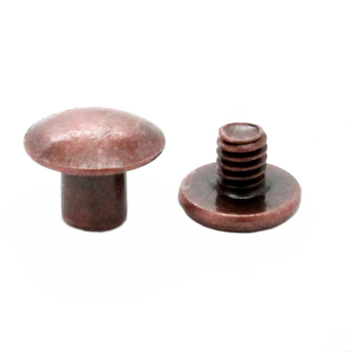 "Antique Copper Binder Post 1/4"" Steel Chicago Screws 10 Pack"