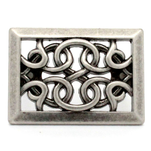 Rectangle tack antique nickel front