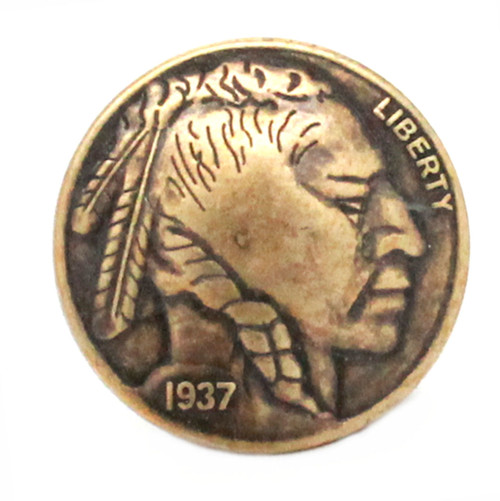 Buffalo Nickel Tack Upholstery Nail Antique Brass 10 Pack NB0445-09