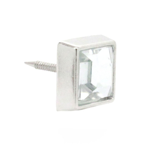 "Clear Crystal Square 1/2"" Tack Upholstery Nail front"