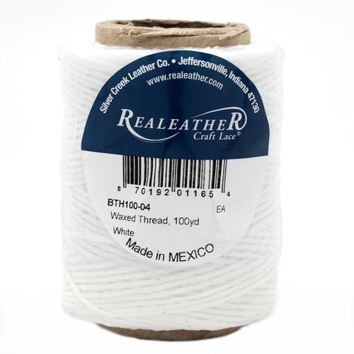 Waxed Thread White Realeather BTH100-04 100 Yards 50g