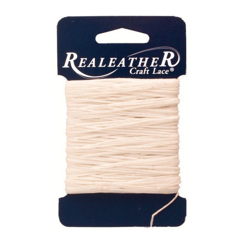Waxed Thread White Realeather BTH25 03 25 Yards