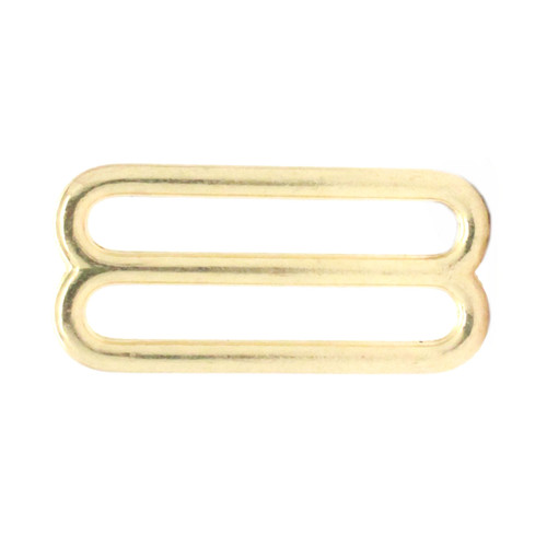 Double Loop Strap Adjuster 1.5 Inch Brass Side