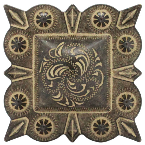 """Berry Square Concho 2"""" Screw Back Rustic Gold Front"""