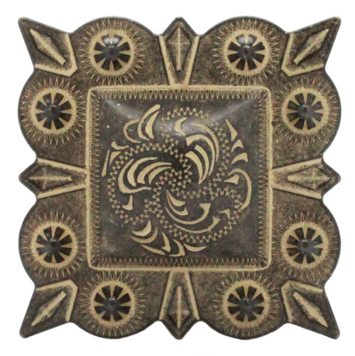 """Berry Square Concho 1.5"""" Screw Back Rustic Gold Front"""