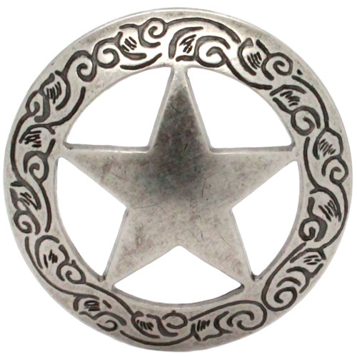 """Star Engraved Screw Back Concho Antique Nickel 2"""" Front"""