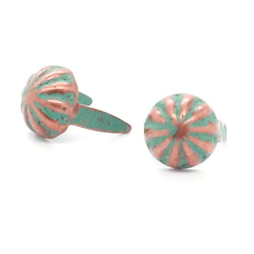 "Parachute Nail Head Spots Copper Patina 5/16"""