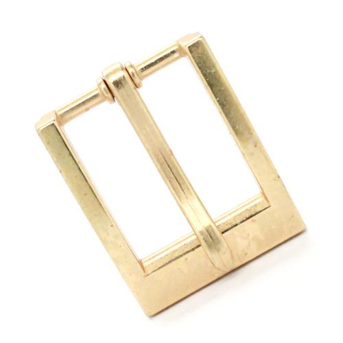 """Heel Bar Belt Buckle Brass Plated 1-1/4"""" Front"""