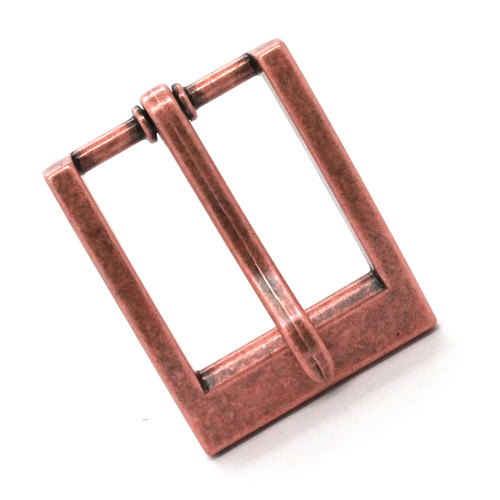 "Heel Bar Belt Buckle Copper Plated 1-1/4"" Front"