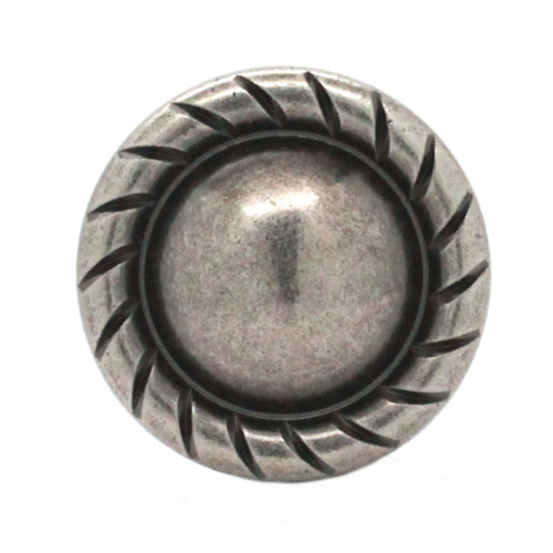 """Button Concho Rope Edge Antique Nickel 1-1/4"""" Front"""