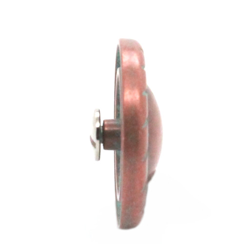 "Button Concho Rope Edge Copper Patina Screw Back 1-1/4"" Side"