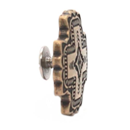Santa Fe Cross Screw Back Concho Antique Brass Side