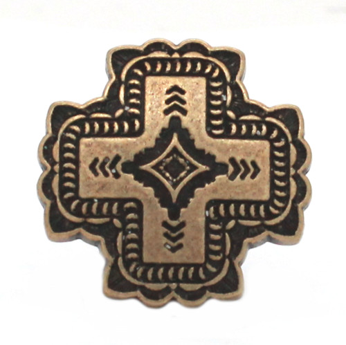 Santa Fe Cross Screw Back Concho Antique Brass Front