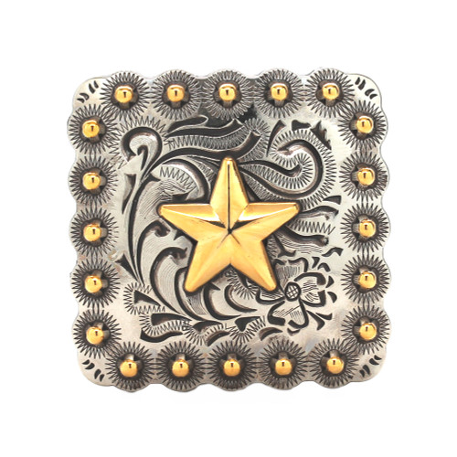 """Star Berry Concho Antique Silver And Rose Gold 1"""" Front"""