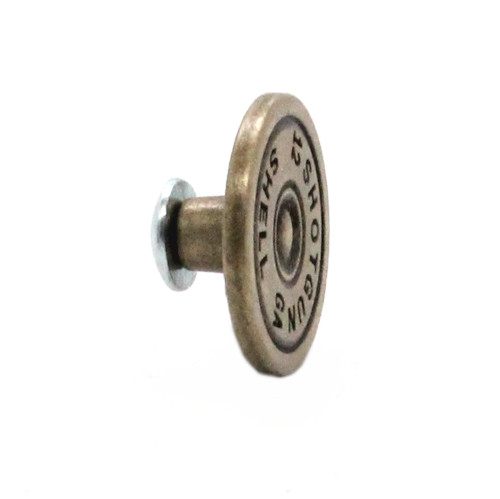 12 Gauge Shell Concho Antique Brass Side