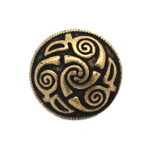 "Celtic Button Antique Brass 7/8"" Front"
