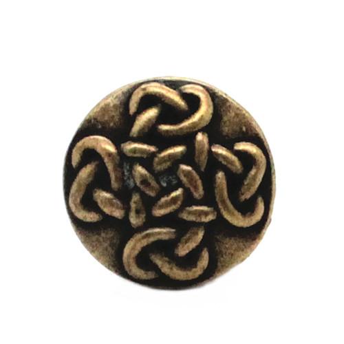 """Celtic Knot Button Antique Brass 7/8"""" Front"""
