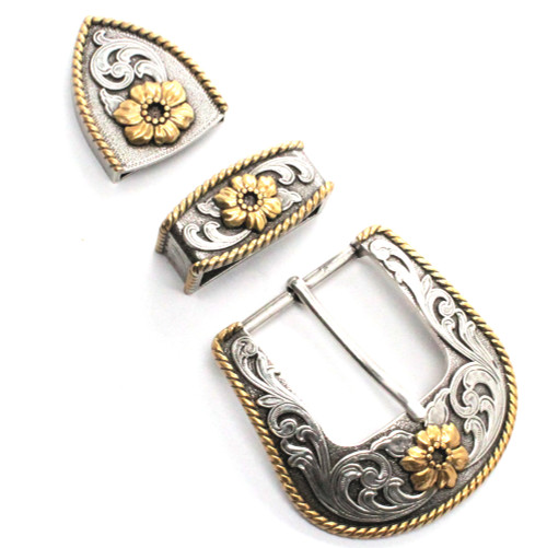 Single Cactus Flower Buckle Loop and Tip Set 1.5