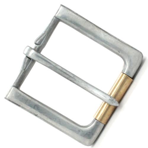 Rugged Roller Belt Buckle Antique Nickel Brass Roller Top