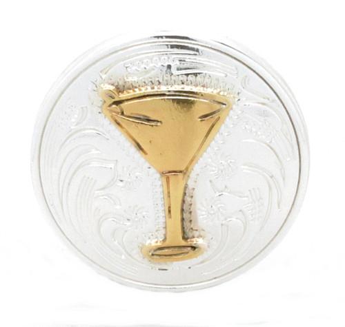 "Martini Glass Screwback Concho 1-1/4"" Front"